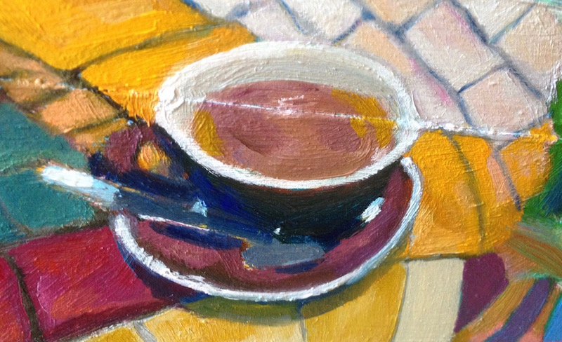Foodie Box (Back Panel): Cappuccino, Oil on Wood