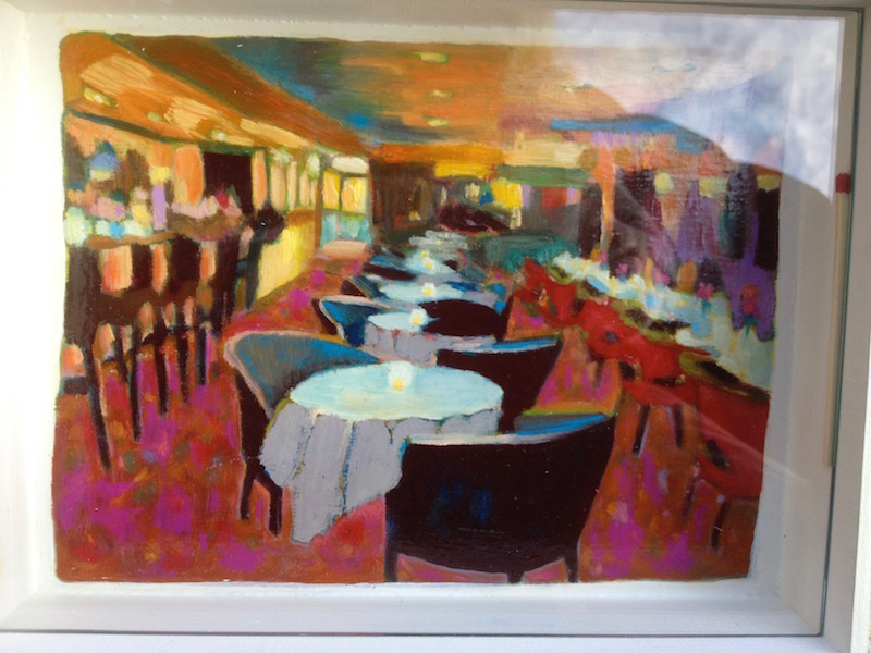 Foodie Box (Inside Under Glass Cover): Steakhouse, Oil on Wood